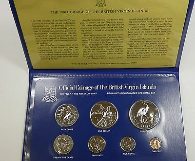 1980 Coinage of The British Virgin Islands 7-Coin Set w/Info Sheet~ Mintage 1007