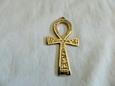 Egyptian Pewter Brass Look Ankh Key of Life Engraved Hieroglyphics Pendant 3""