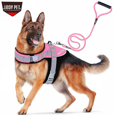 LOSY PET Non Pull Padded Dog Harness Strong Magic Tape Large Size Dog Leash Lead