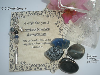 Protection Healing Crystals Gemstones Chakra Gift Set & Clip On Charm Keyring
