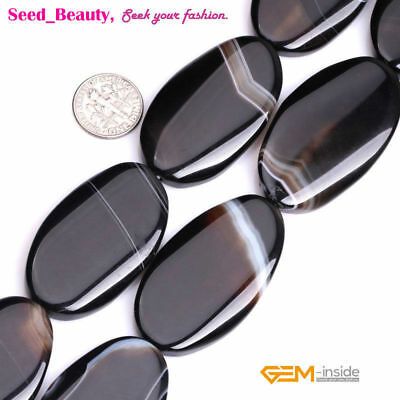 """25x45mm Oval Banded Black Agate Beads for Jewelry Making Strand 15"""""""