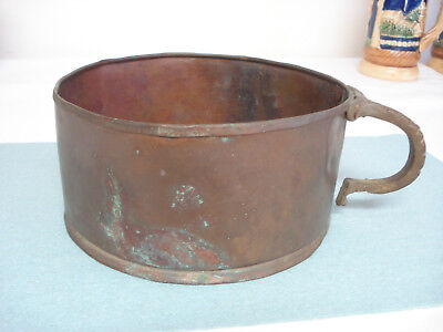 Antique Hand Hammered Forged Copper Pan w Solid Brass Handle Verdigris Americana