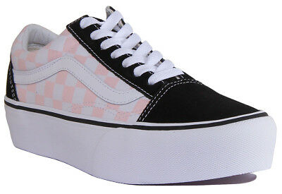4e6ead98a5 Vans Old Skool Platform Women Canvas Black White Pink Trainers Size UK 3 - 8