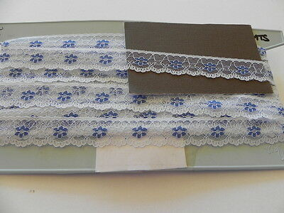 Card of New Lace - White with Blue Flowers