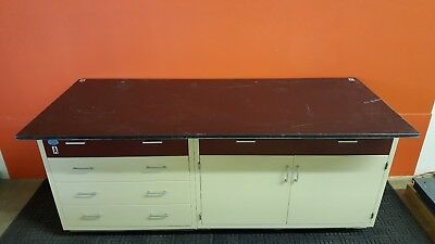 Industrial Laboratory Base Cabinet 5 Drawers + Storage Area Includes Resin Top