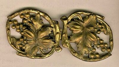 2 Piece Center Clasping Victorian Brass Buckle w/ Grapes, Leaves & Vines