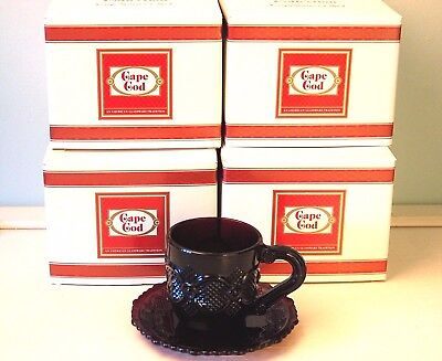 Vintage Avon Cape Cod 1876 Ruby Red Collection Cup & Saucer Sets of 4~NIB