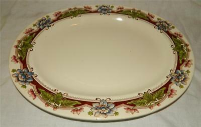 """Brown Westhead Moore Co 15"""" Transferware Floral Platter England 1880 s Free Ship"""