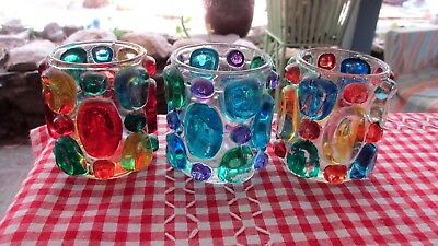 3x 1970s bright Candle Holders,collectiable