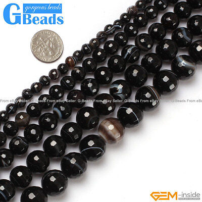 """Natural Black Stripe Agate Onyx Gemstone Faceted Round Beads Free Shipping 15"""""""