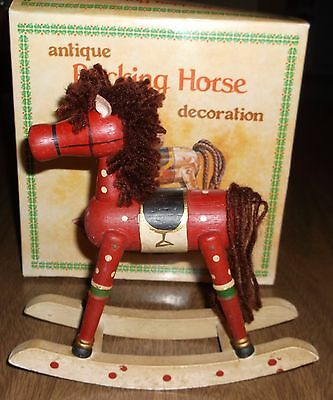 Older Russ Antique Look Red Rocking Horse Mini Decoration #2855 - In Box