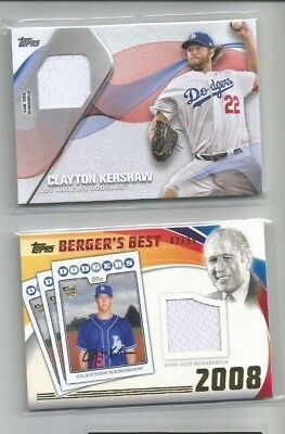 Clayton Kershaw 2016 2017 Topps Game Used Jersey lot of 2 #'d/99