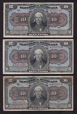 Lot Of Three Mexico 1915 10 Peso Banknotes