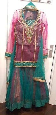 Indian Fishcut  NET Lengha with choli net Top & dupatta Brand NEW 4 pcs