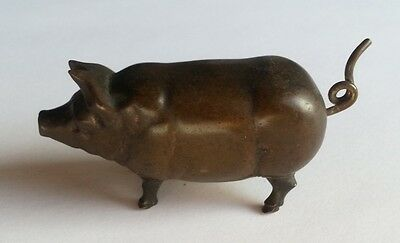 Antique Early 20th C Bronze Pig Figural Tape Measure with Winding Tail