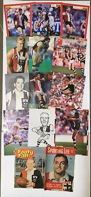 St.kilda Football Club Lot Of Small Posters X 15& 3 Magazine Covers - 18 Total