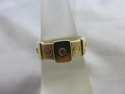 Diamond 14k gold bolt ring vintage Art Deco c1920. tbj02968