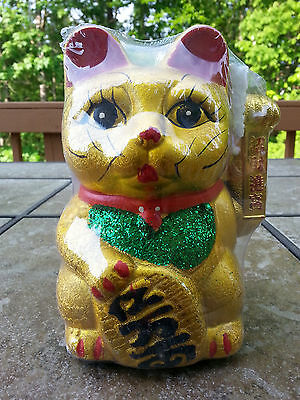 """7"""" Chinese Good Luck Gold Waving Hand Paw Up Fortune Kitty Cat ( Ceramic )"""