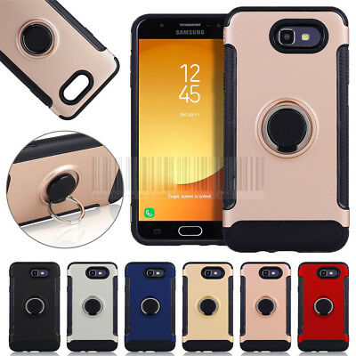 Slim Hybrid Ring Stand Cover Hard Case For Samsung Galaxy J3 Emerge/Prime 2017