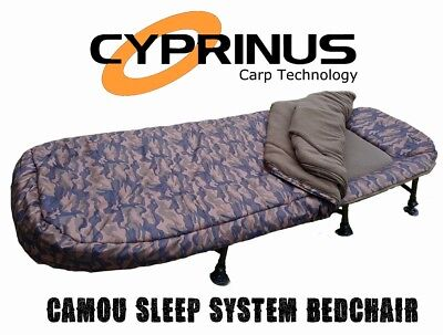 Cyprinus™ Camo Carp fishing bedchair bed 5 Season Sleeping bag sleep system