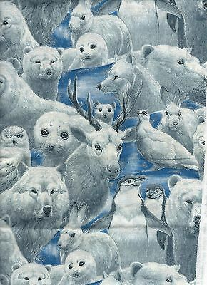 """Artic Animals Wildlife Cotton on Blue  Fabric Household Apparel 36"""" x 45"""" appx."""