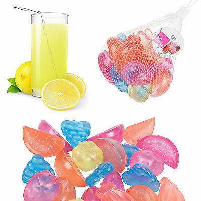 18 Pieces Plastic Ice Cubes Fruit Shaped Assorted Cool Cold Drinks Bar Reusable