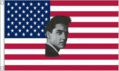 NEW 5 x 3 FOOT (150x90cm) USA AMERICAN WITH ELVIS PRESLEY FACE FLAG