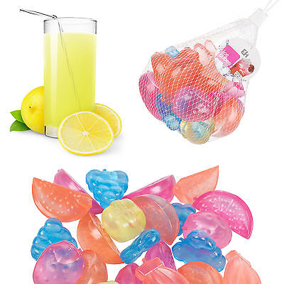 36 Pieces Plastic Ice Cubes Fruit Shaped Assorted Cool Cold Drinks Bar Reusable