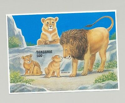 Tanzania #1002 Lions, Wild Cats 1v S/S Imperf Proof