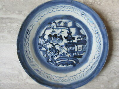Early Antique B/W Chinese Export Porcelain Blue & White Handpainted Plate