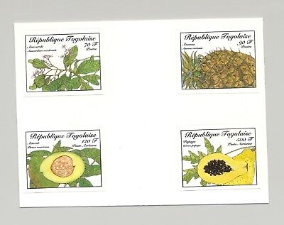 Togo #1366-1369 Food Fruit 4v Imperf Proofs from set & 1v S/S Unissued