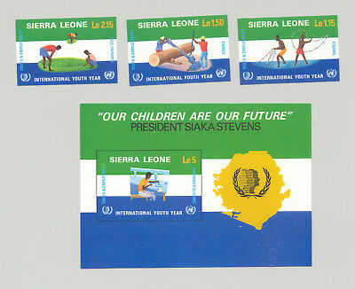 Sierra Leone #676-679 Youth Year, UN, Fishing, Minerals 3v & 1v S/S Imperf Proof