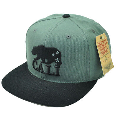 252390edc0b0d American Needle Cali California Republic Bear Gray Black Snapback Hat Cap