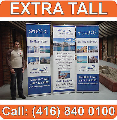 """96"""" TALL Retractable RollUp Trade Show Banner Stand Graphic Display + FREE PRINT"""