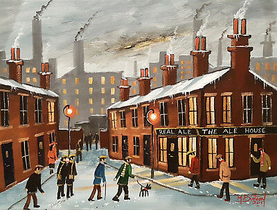 """Mal..burton Original Art Oil Painting   """" Lets Call For A Wee Dram Boy """""""