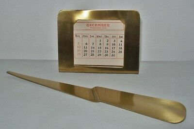 Incredible ARTS CRAFTS Brass PERPETUAL CALENDAR with INSERTS Plus LETTER OPENER