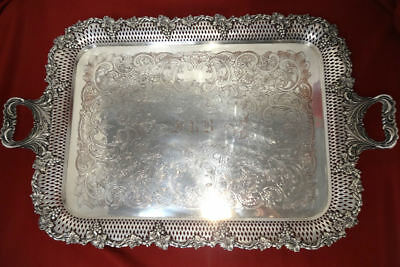 William Adams English Silver Plated Reticulated Grapes WAITER Tray for Tea Set