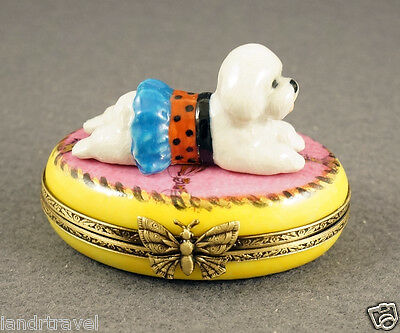 New French Limoges Box Dressed Up Bichon Frise Dog Puppy On Pink Rug W Gold