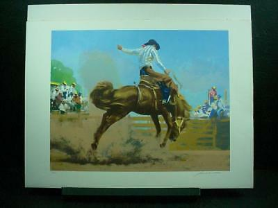 "NobleSpirit{3970}Signed/Numbered Frank Wootten Lithograph ""Bucking Bronco"""