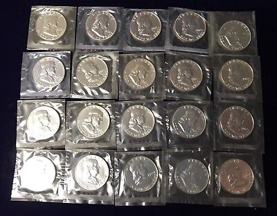 Proof Roll Of 20 1962 Franklin Halves 90% Silver Half Dollars Mint Cello Sealed