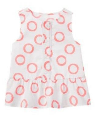 Gymboree NWT Girls Animal Party Coral Circles Top Size 18-24 M 2T 3T 4T & 5T