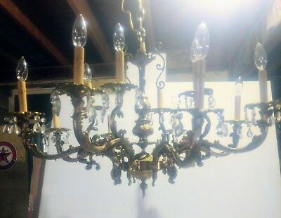 Massive Antique Crystal Brass Bronze 12 Light CHANDELIER Ornate Gilt GAS