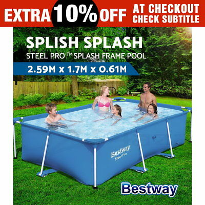 BESTWAY Steel Frame Above Ground Rectangular Swimming Pool 2,300L