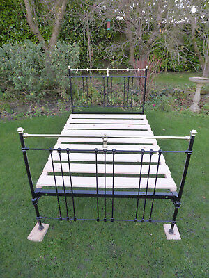 Victorian Cast Iron + Brass Bed. Small Double. Restored. Black