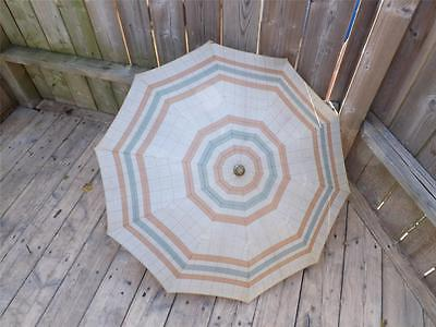 Knirps Vintage Retro Brass Stripes And Checks Pattern Umbrella Parasol & Case