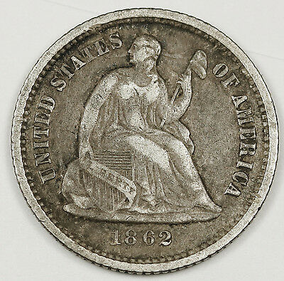1862 Seated Liberty Half Dime.  Civil War Era.  Natural V.F.-X.F.  96818