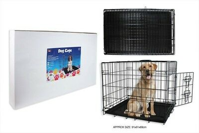 Dog Cage Crate Travel Training Safety Metal Lock Handle Small Medium Large Size