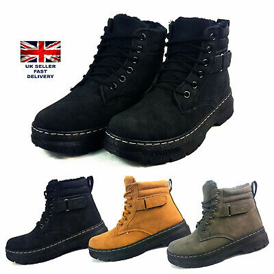 Winter Warm  Lined  Ankle Boots Girls Ladies Lace up Military