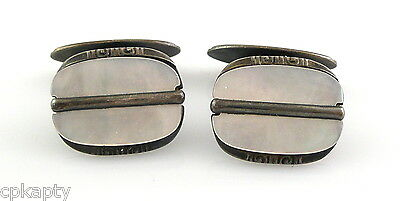 Vintage 1920s SIGNED Art Deco Geometric 800 Silver & Mother of Pearl CUFFLINKS