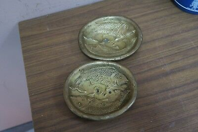 "Pair @ 2 Vintage Valenti Spain Fish Pisces Pin Dish Ashtray Bronze 4.5"" x 5"""